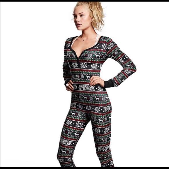 9965fd22b6e9 Pink Victoria secret one piece pajamas Christmas. M 5bbbd88e6a0bb79fec9765ef